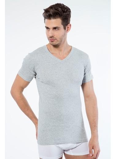 Siyah İnci 2'li Pamuklu V Yaka Kısa Kol T-Shirt Gri
